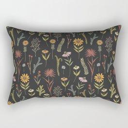 flat lay floral pattern on a dark background Rectangular Pillow