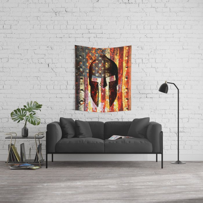 American Flag And Spartan Helmet On Rusted Metal Door - Molon Labe Wall Tapestry