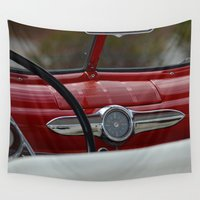 ford Wall Tapestries featuring Antique Ford Dashboard by Alaskan Momma Bear