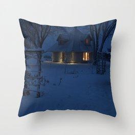 Snowy House at Dusk Throw Pillow