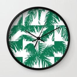 Palm Leaf Pattern Green Wall Clock