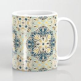Protea Pattern in Deep Teal, Cream, Sage Green & Yellow Ochre  Coffee Mug