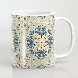 Protea Pattern in Deep Teal, Cream, Sage Green & Yellow Ochre  Coffee Mug