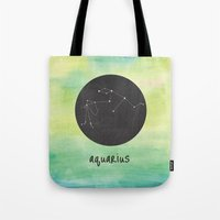 aquarius Tote Bags featuring Aquarius by snaticky