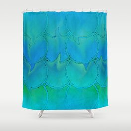 Mermaid Scales Blue Green Light 2 Shower Curtain