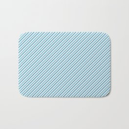 Sky Blue Strong Inclined Stripes Bath Mat
