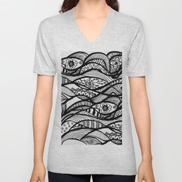 Hand painted black white watercolor abstract floral Unisex V-Neck