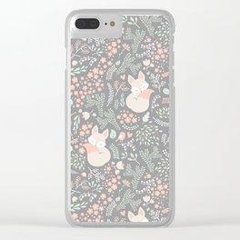 Sleeping Fox - grey Clear iPhone Case