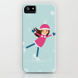 Little girl on skating rink iPhone Case