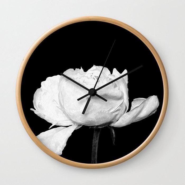 White Peony Black Background Wall Clock