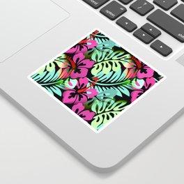 Hawaiian Flowered Print Pink Green Blue Sticker