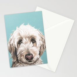 Sweet and Soulful Labradoodle Painting, Labradoodle Artwork, Portrait of a Champagne Labradoodle Stationery Cards
