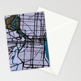 Philadelphia Street Map // Blue Theme Stationery Cards