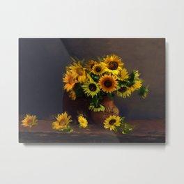 Baskets of Sunfowers Metal Print