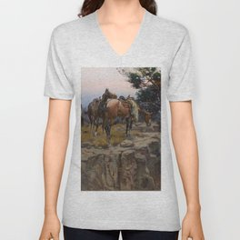 """""""Innocent Allies"""" by Charles M Russell Unisex V-Neck"""