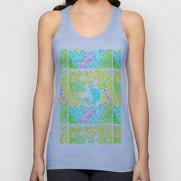 Asian Bamboo Garden in Pink Lemonade Watercolor Unisex Tank Top