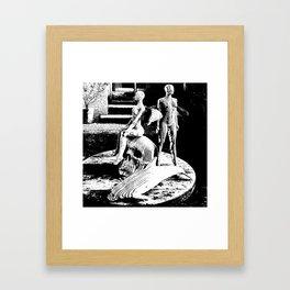 Human Skull, Fairies and Dolphin Framed Art Print