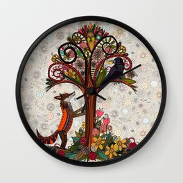 fox and crow Wall Clock