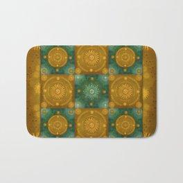 """""""Moroccan chess Celestial & Ocher Pattern"""" Bath Mat"""
