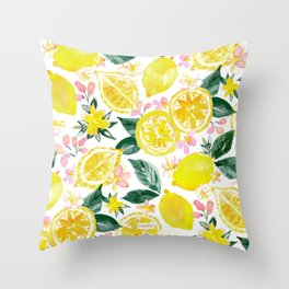 LEMONIZER Yellow Lemons Throw Pillow