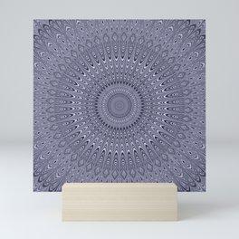 Silver mandala Mini Art Print