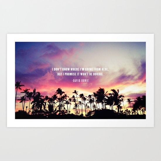 1980's sunset and quote Art Print