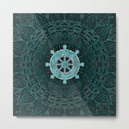 Dharma Wheel - Dharmachakra Silver and turquoise Metal Print