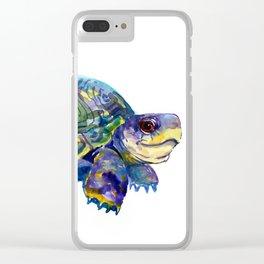 Turtle children artwork illustration blue purple teal animal art Clear iPhone Case