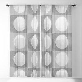 Montana Moon Minimalism Grey Black White Sheer Curtain