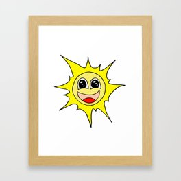 Drawn by hand a funny happy smiling sun for children and adults Framed Art Print
