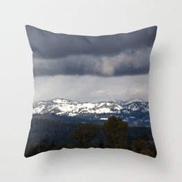Snow Capped Mountains under clouds Throw Pillow