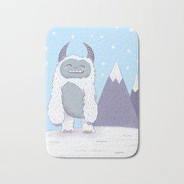 Yeti in the Mountains - Blue Bath Mat