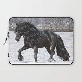 Friesian Horse Trotting In Snow Laptop Sleeve