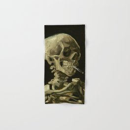 Skull of a Skeleton with Burning Cigarette Painting by Vincent van Gogh Hand & Bath Towel