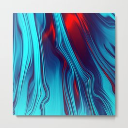 Teal With Red, Streaming Metal Print