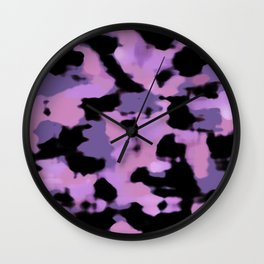 Abstract Camouflage: Purple Wall Clock