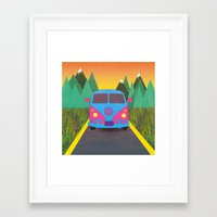 volkswagon Framed Art Prints featuring Das Auto by Daizy Jain