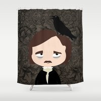 edgar allan poe Shower Curtains featuring Edgar Allan Poe by Creo tu mundo