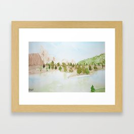 Pines and mountains Framed Art Print