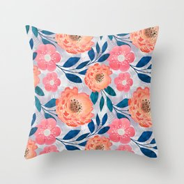 Pink, orange flowers on a light gray background. Throw Pillow