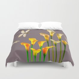 GOLD CALLA LILIES & DRAGONFLIES ON GREY Duvet Cover