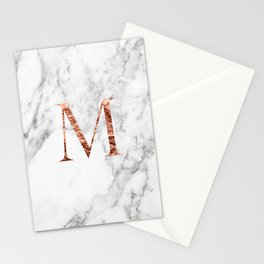 Monogram rose gold marble M Stationery Cards