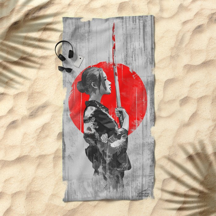 Samurai Girl Beach Towel