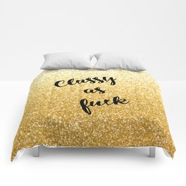 Gold Classy as fuck Comforters