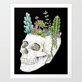 """""""Garden of Thought"""" - Skull and Flowers Art Print"""