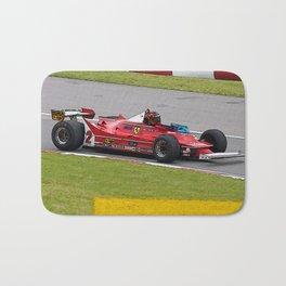 Sketch of F1 Champion Gilles Villeneuve - year 1980 car 312 T5 Bath Mat