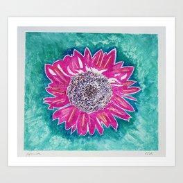 Hot Pink Sunflower Art Print