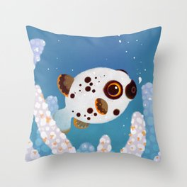 Blackspotted puffer Throw Pillow