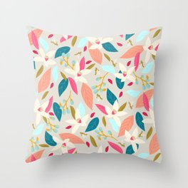 Hello spring - pink and aquamarine Throw Pillow