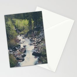 a mountain stream weaves down amongst the trees above Lake Tahoe Stationery Cards